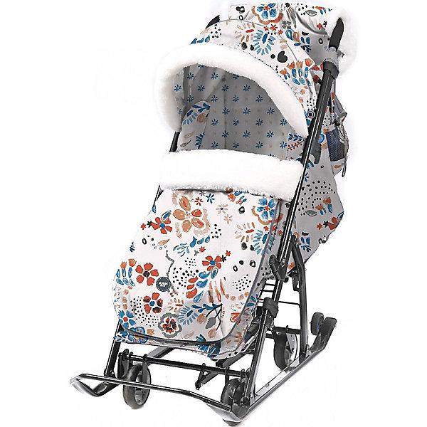 Nika-Kids Санки-коляска Nika Ника детям 7-5, цветочный светлый