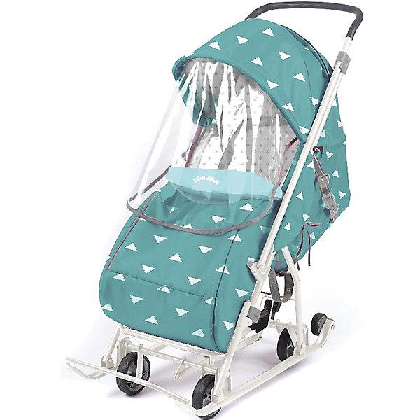 Nika-Kids Санки-коляска Nika Умка 3-1, бирюзовые с треугольниками nika kids санки коляска ника детям умка 3 3 принт вязаный