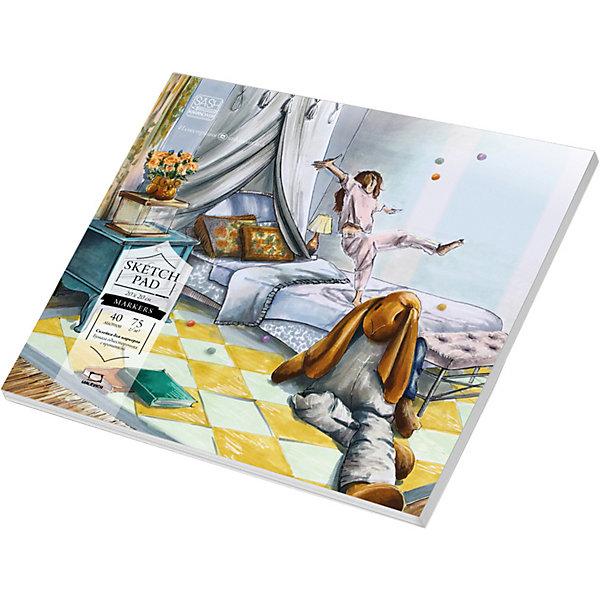 Малевичъ Альбом-склейка Малевичъ Sketch для маркеров, 20х20 см альбом для маркеров и фломастеров brauberg 30 42 см 40 листов