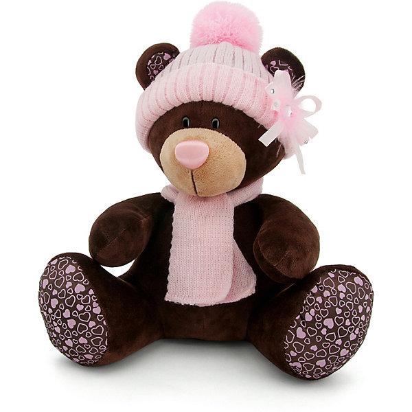 Купить Мягкая игрушка Orange Choco&Milk: Мишка Milk сидячая в розовой шапке, 30 см, Китай, коричневый, Унисекс