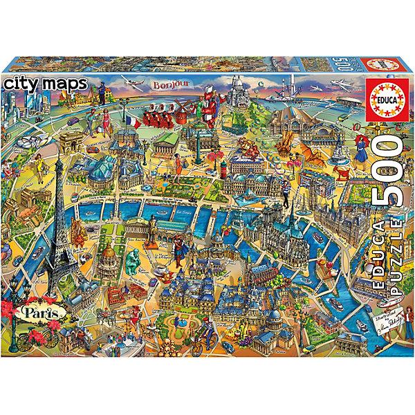 Educa Пазл Educa Карта Парижа, 500 элементов пазл 500 элементов monster high странные и шикарные 30119