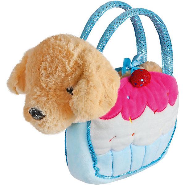 Купить Мягкая игрушка Fluffy Family Щенок в сумочке-пирожное , 21 см, коричнево-голубая, Китай, blau/braun, Женский