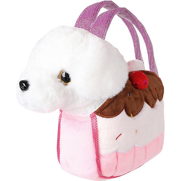 Купить Мягкая игрушка Fluffy Family Щенок в сумочке-пирожное , 21 см, бело-розовая, Китай, розовый/белый, Женский
