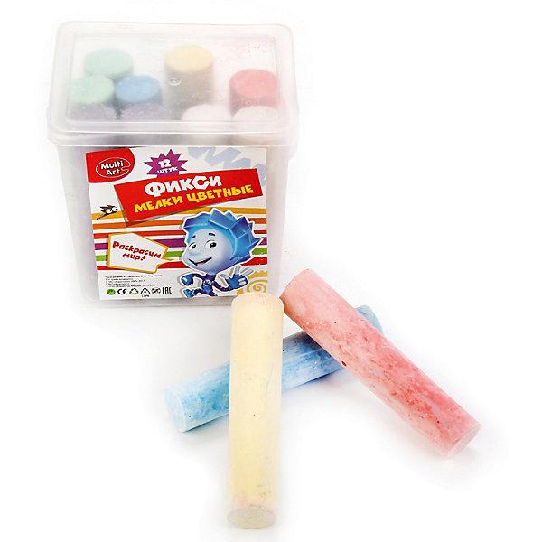 Multiart Цветные мелки для творчества Фиксики, в ведре, 12 цветов