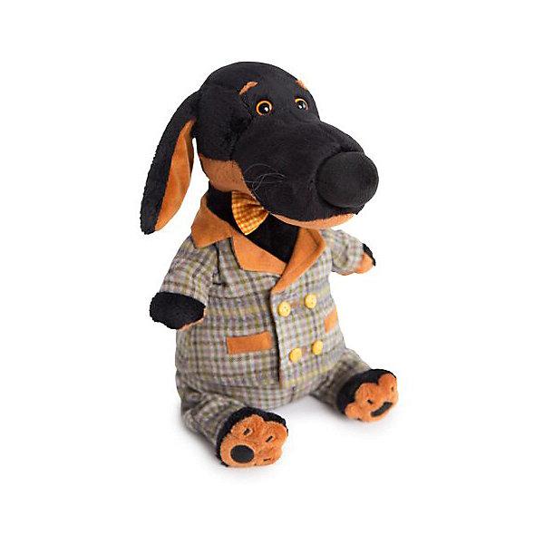 Budi Basa Мягкая игрушка Собака Ваксон в сером костюме клетку, 29 см