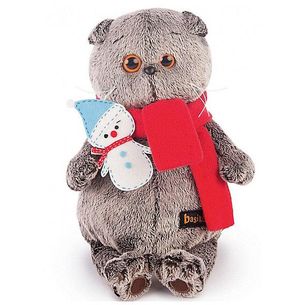 Budi Basa Мягкая игрушка Budi Basa Кот Басик в шарфике со снеговичком, 25 см