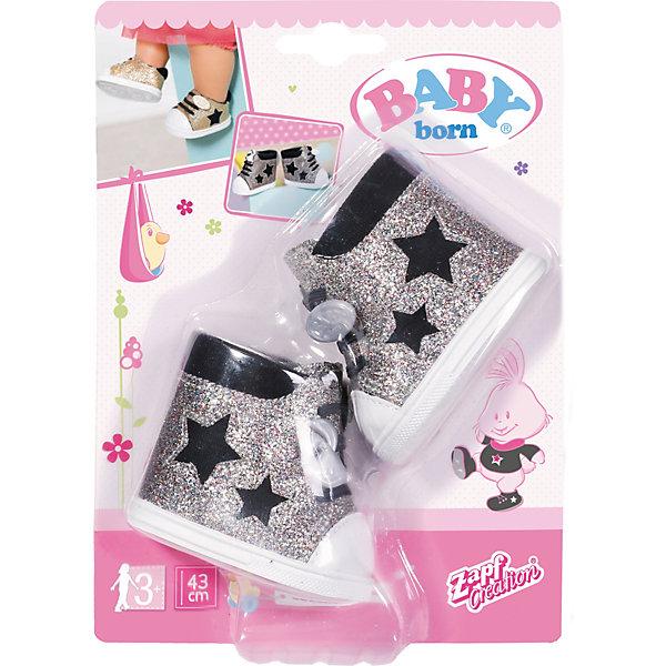 цена Zapf Creation Обувь для куклы Zapf Creation Baby Born Сникерсы, серебряные онлайн в 2017 году