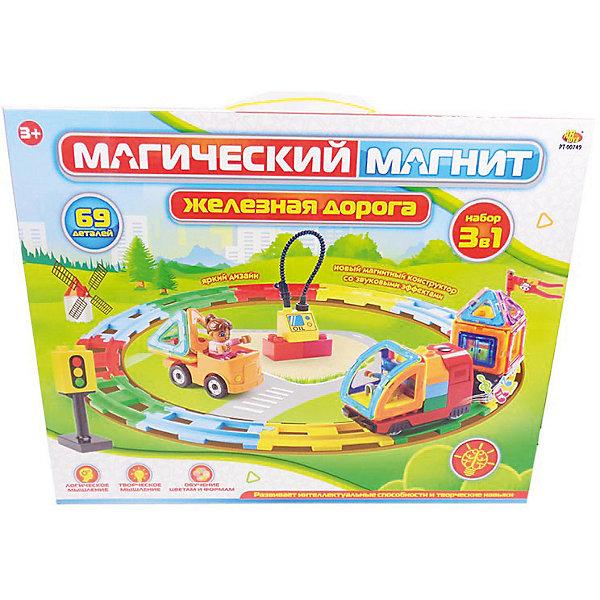 ABtoys Конструктор Магический магнит Железная дорога, электро-механический, 69 предметов, со звуком