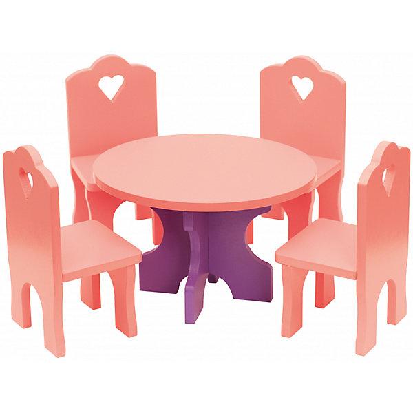 Краснокамская игрушка Набор кукольной мебели КРАСНОКАМСКАЯ ИГРУШКА Столик с четырьмя стульчиками