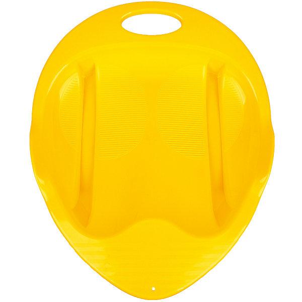 Пластик Санки-ледянка Снежный гонщик, желтые пластик ледянка снежный вихрь салатовая