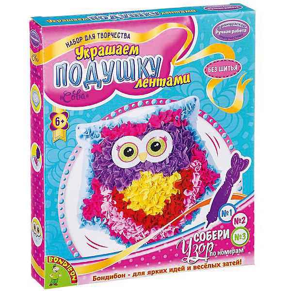 Bondibon Набор для творчества Украшаем подушку лентами: сова