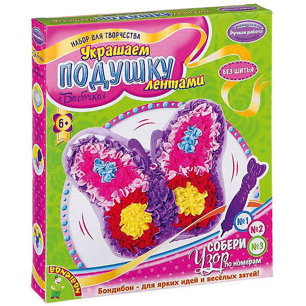 Bondibon Набор для творчества Украшаем подушку лентами: бабочка