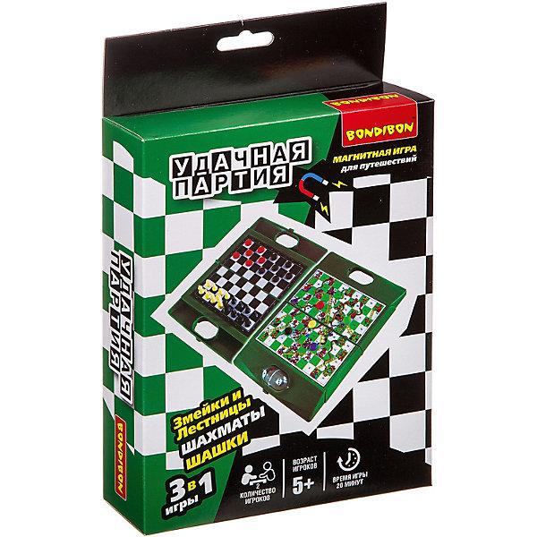 Bondibon Набор настольных игр Bondibon Удачная партия Шахматы, шашки, змейки и лестницы, 3 в 1 магнитная игра змейки и лестницы