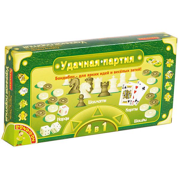 Bondibon Набор настольных игр Bondibon Удачная партия Шахматы, шашки, нарды, карты, 4 в 1 набор настольных игр haleyan шахматы нарды резные c араратом 40 с ручкой