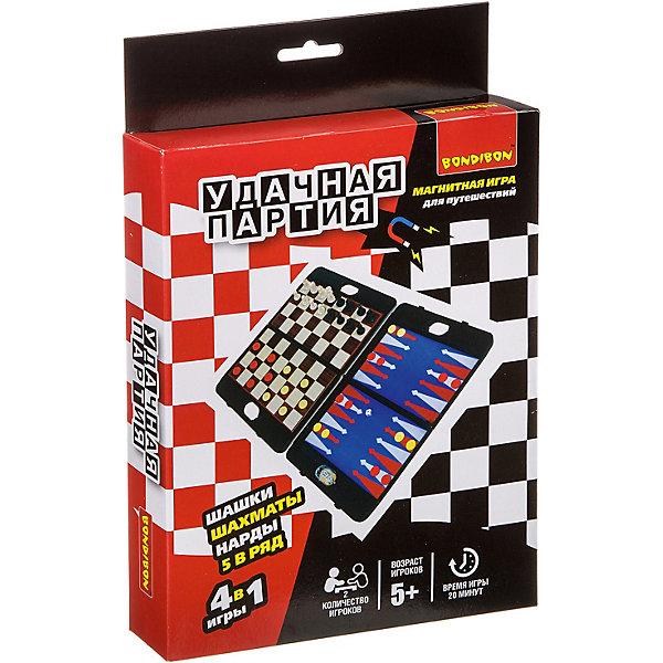 Bondibon Набор настольных игр Bondibon Удачная партия Шахматы, шашки, нарды, 5 в ряд, 4 в 1 набор настольных игр haleyan шахматы нарды резные c араратом 40 с ручкой