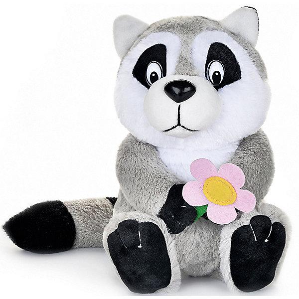 Maxitoys Мягкая игрушка Maxi Play Енотик с цветочком озвученный, 21 см