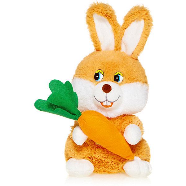 Maxitoys Мягкая игрушка Maxi Play Зайка с морковкой озвученный, 20 см
