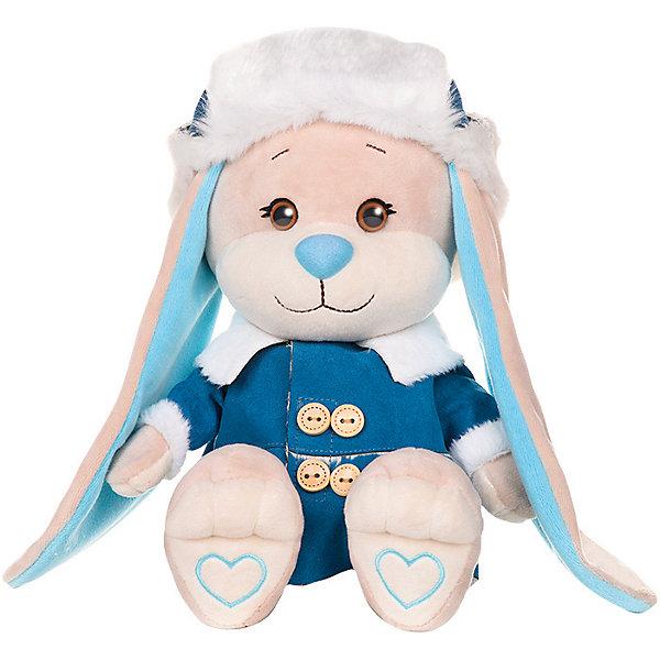 Jack&Lin Мягкая игрушка Зайчик в синей дубленке 25 см