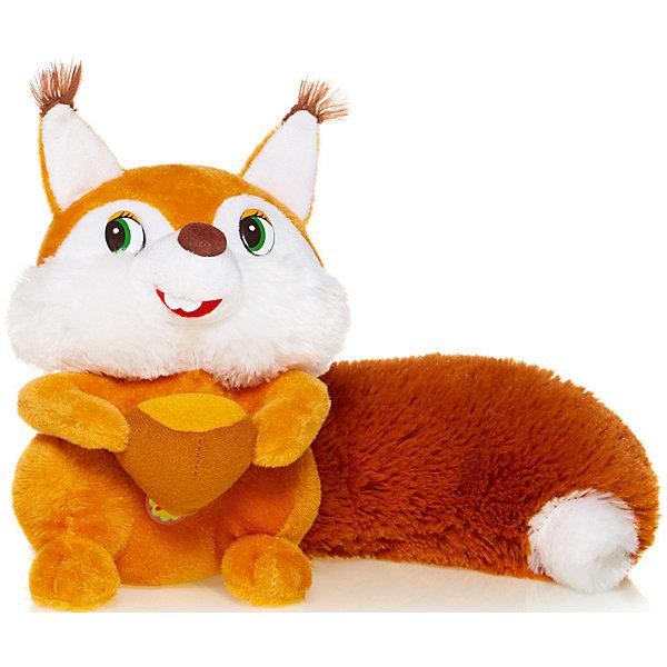 Maxitoys Мягкая игрушка Белка с орешком озвученная, 18 см