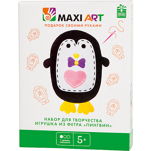 Maxi Art Набор для творчества Maxi Art Игрушка из фетра Пингвин наклейка