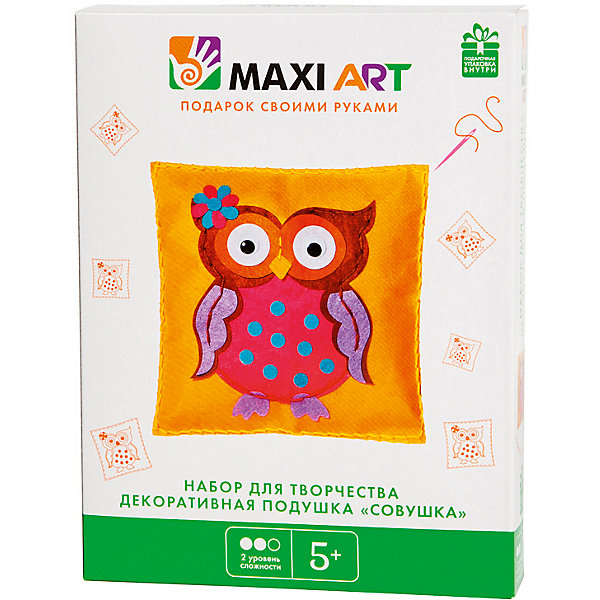 Maxi Art Набор для творчества Maxi Art Декоративная подушка Совушка наклейка