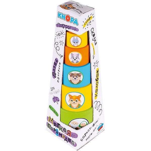 Knopa Мягкая пирамидка стаканчики с наклейками Колобок
