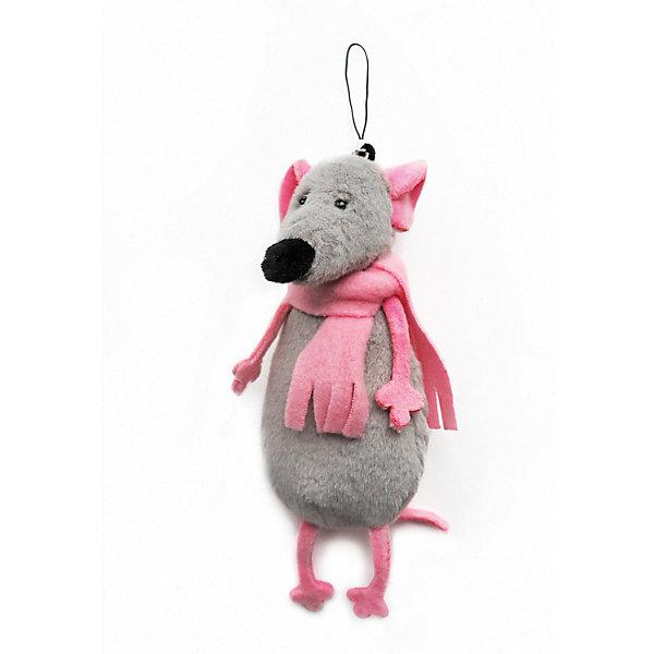 Maxitoys Брелок Серый Мышонок в розовом Шарфике, 13 см