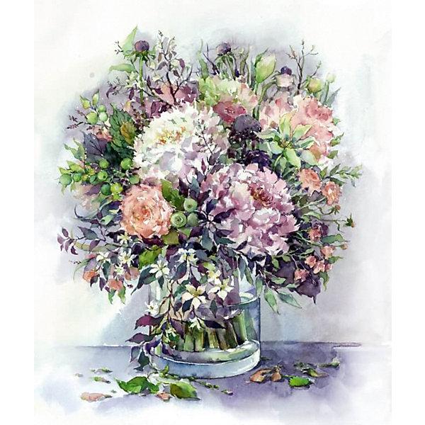 ТМ Цветной Набор для создания картины из мозаики Букет с пионами и травами в сиреневых тонах