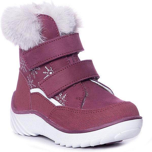 Утепленные ботинки Котофей бордового цвета