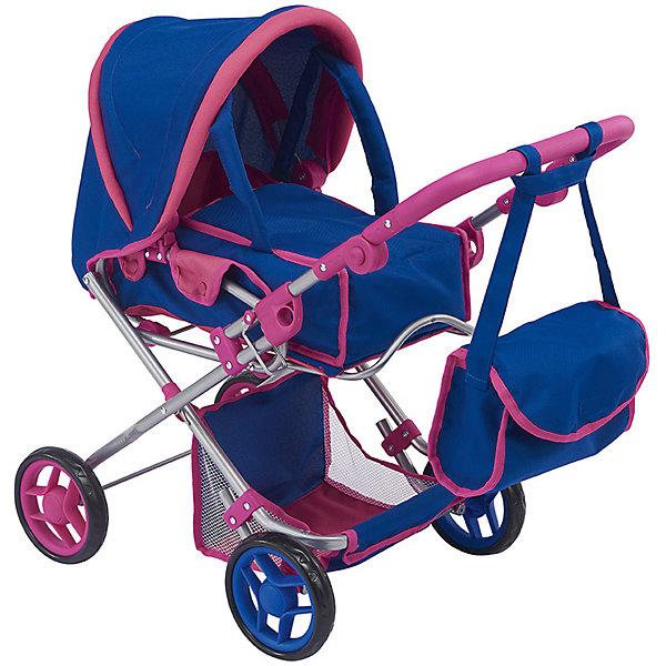 Коляска-трансформер 2-в-1 для кукол Buggy Boom Infinia, синяя с розовым