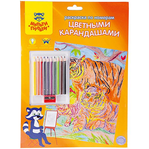 Мульти-Пульти Раскраска по номерам Тигры А4