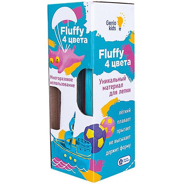 Купить Воздушный пластилин для детской лепки Dream Makers «Fluffy 4 цвета», Беларусь, синий, Унисекс