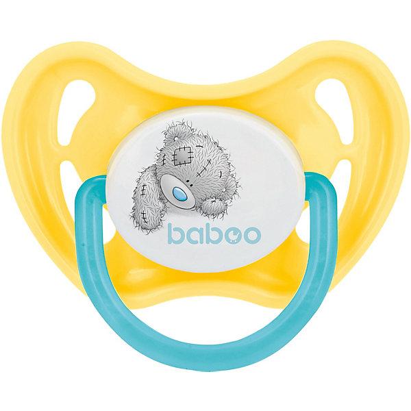 Baboo Соска-пустышка силиконовая Baboo Me to you с 6 мес, жёлтая пустышка baboo safari силиконовая симметричная от 6 мес зеленый