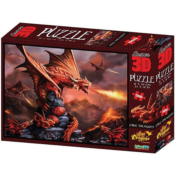 Prime 3D Пазл «Огненный дракон», 500 деталей (стереоэффект)