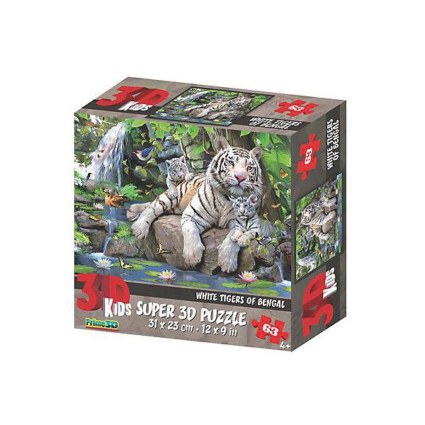 Prime 3D Пазл «Белые тигры Бенгалии», 63 деталей (стереоэффект)