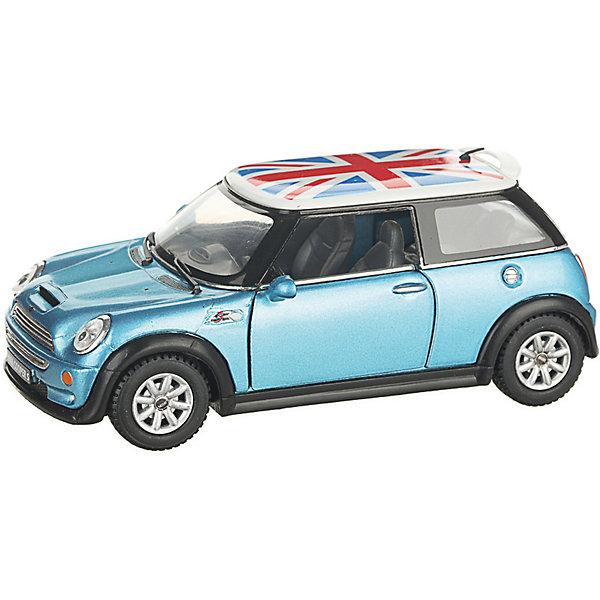Serinity Toys Коллекционная машинка Mini Cooper S с флагом, голубая