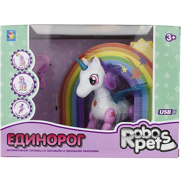 Интерактивная игрушка 1Toy Robo Pets Робо-единорог, бело-розовый 13335251