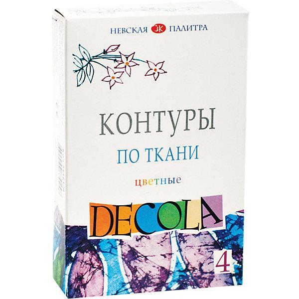 Невская палитра Контуры по ткани 3ХК Decola, 4 цвета, акриловые