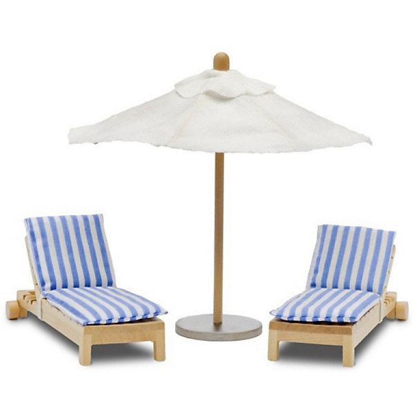 Фото - Lundby Набор мебели для домика Lundby Шезлонги с зонтиком аксессуары для домика lundby смоланд батут с машинкой