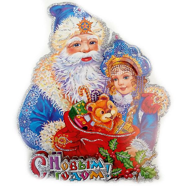 Новогодняя сказка Панно бумажное Новогодняя сказка Дед Мороз и снегурочка, 20х23 см