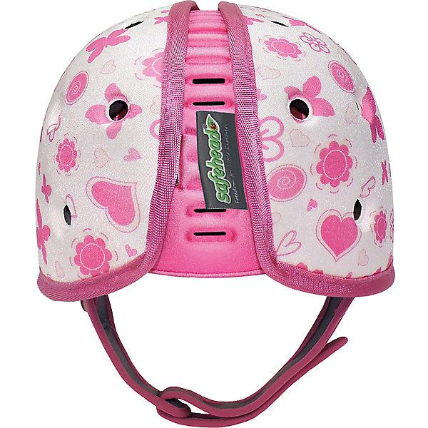 Мягкая шапка-шлем для защиты головы Safehead Baby Бабочка, бело-розовый фото