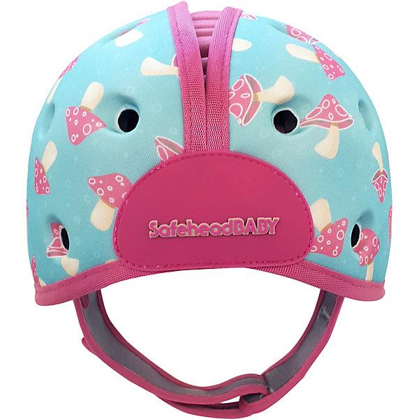 Картинка для SafeheadBABY Мягкая шапка-шлем для защиты головы Safehead Baby Грибы, мятно-розовый