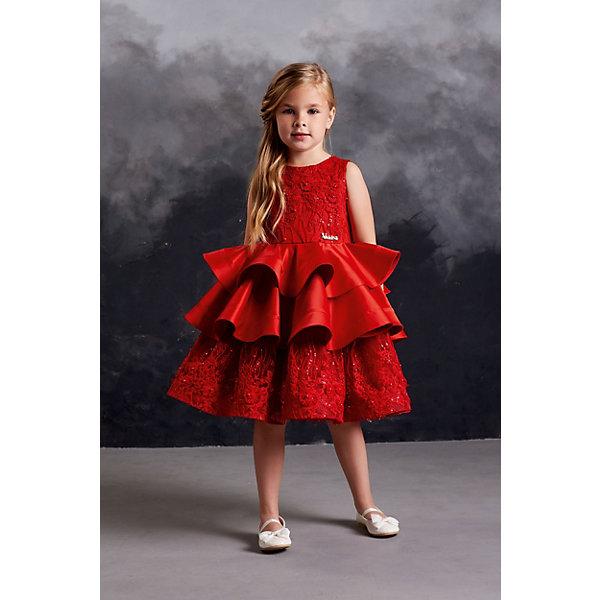 Купить Нарядное платье Valini, Россия, красный, 110, 134, 98, 128, 122, 104, 116, Женский