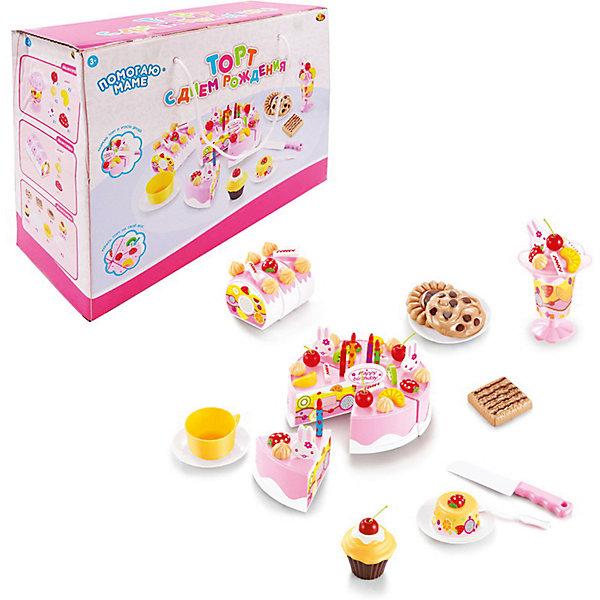ABtoys Игровой набор Abtoys Помогаю Маме Торт фруктовый с аксессуарами, 75 предметов