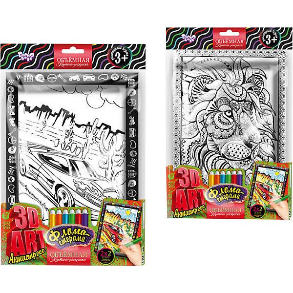 Купить Набор для творчества Danko Toys Комплект из двух рельефных раскрасок Суперкар и Лев, Украина, Унисекс