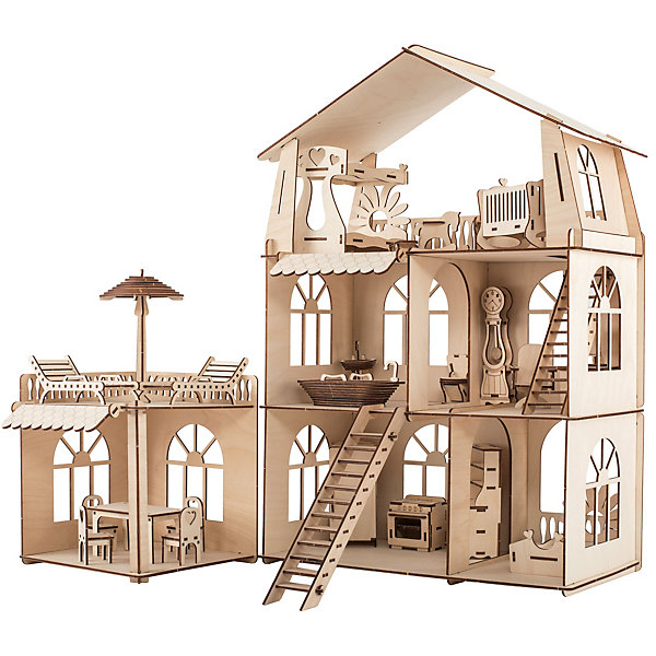 ХэппиДом Сборная модель Коттедж с пристройкой и мебелью Premium