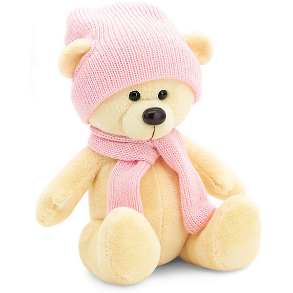 Мягкая игрушка Orange Медведь Топтыжкин жёлтый: в шапке и шарфе, 17 см