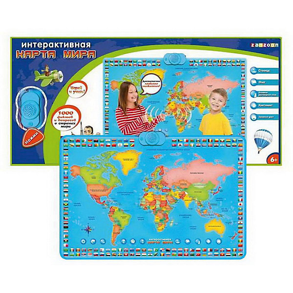 ZanZoon Карта мира ZanZoon интерактивная, в коробке