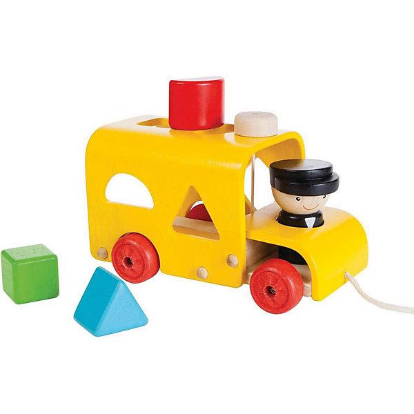 Купить Сортер-каталка Plan Toys Автобус , желтый, Таиланд, Унисекс