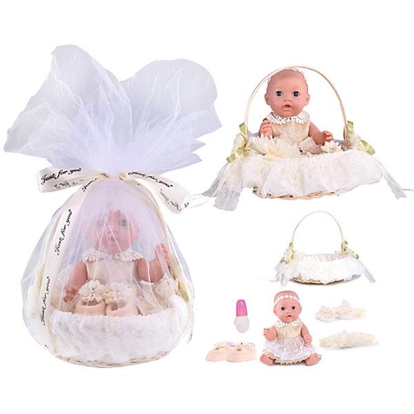 Junfa Toys Кукла-пупс в корзинке, с акссесуарами